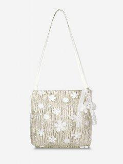 Applique Lace Hemp Woven Shoulder Bag - Warm White