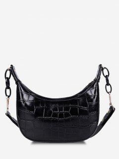 Embossed Half Chain Shoulder Bag - Black