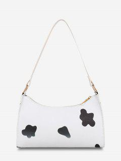 Cow Spot Printed Shoulder Bag - Black