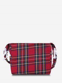 Bolsa De Ombro Com Cordão Xadrez - Vermelho