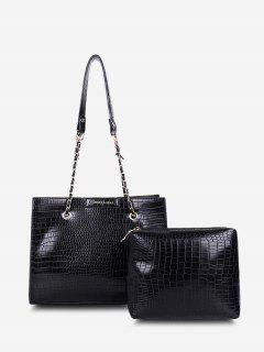 2Pcs Textured Square Shoulder Bag Set - Black