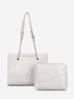 2Pcs Textured Square Shoulder Bag Set - White
