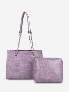 2Pcs Textured Square Shoulder Bag Set - Lilac