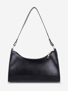 Minimalist Solid Shoulder Bag - Black