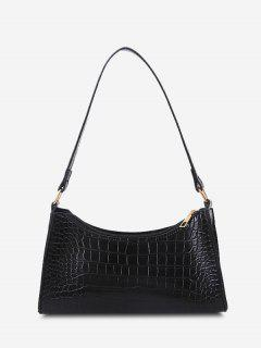 PU Stone Print Solid Shoulder Bag - Black