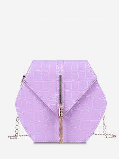 Tassel Hexagon Chain Crossbody Bag - Light Purple