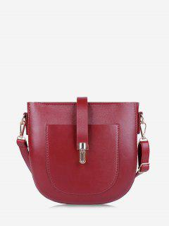 Retro Semicircle Crossbody Bag - Red