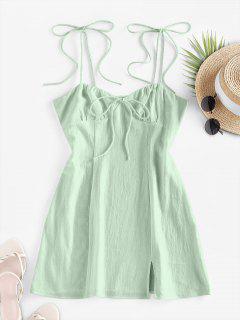 ZAFUL Tie Shoulder Bowknot Slit Mini Dress - Light Green M
