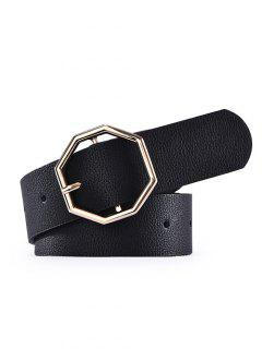 PU Octagon Buckle Belt - Black