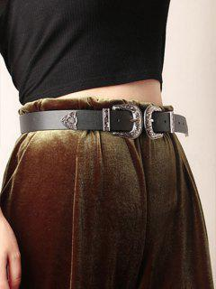 PU Double Head Сarving Buckle Belt - Black