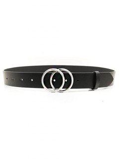 PU Double Round Buckle Solid Belt - Black