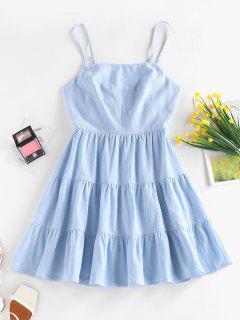 ZAFUL Tiered Cutout Tied Cami Sundress - Light Blue M