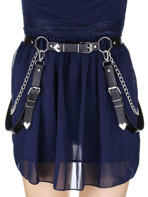 women's Gothic Chain Charm Waist Belt - BLACK  Mobile