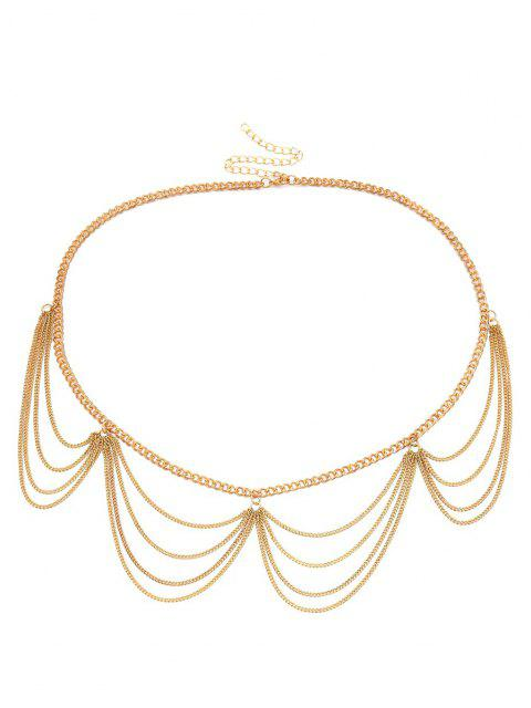 lady Wavy Layered Waist Chain - GOLDEN  Mobile