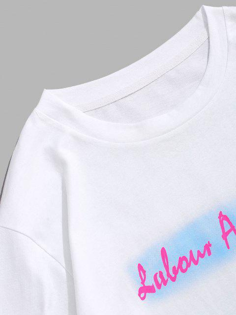 affordable ZAFUL Ombre Letter Print Slogan T-shirt - WHITE XXL Mobile