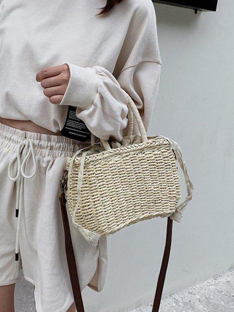 unique Hemp Woven Drawstring Basket Picnic Bag - WARM WHITE  Mobile