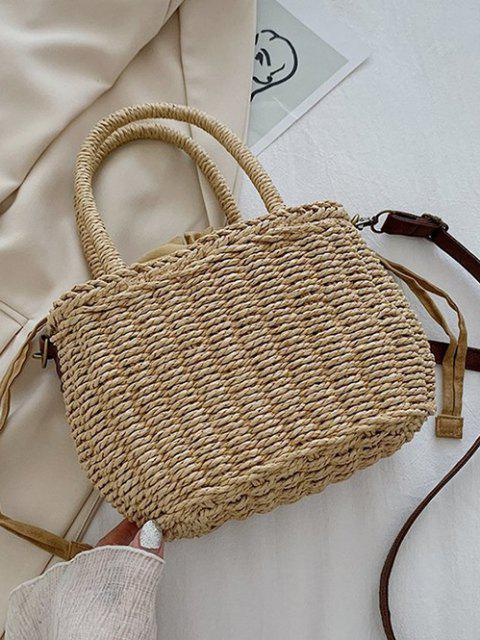 sale Hemp Woven Drawstring Basket Picnic Bag - LIGHT BROWN  Mobile