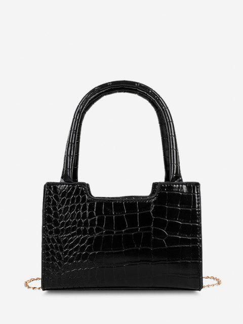 Solid Embossed Chain Double Handle Tote Bag - أسود  Mobile