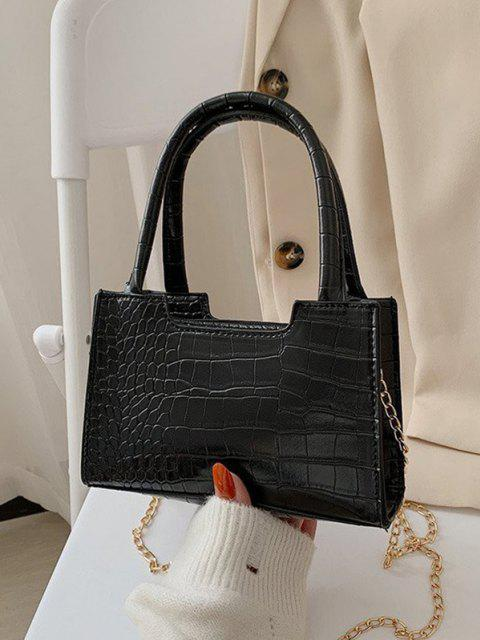 women Solid Embossed Chain Double Handle Tote Bag - BLACK  Mobile
