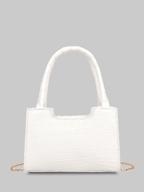 women's Solid Embossed Chain Double Handle Tote Bag - WHITE  Mobile