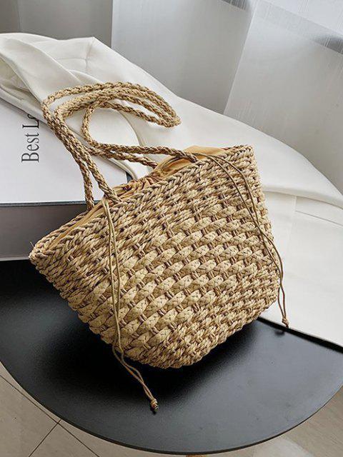 chic Casual Woven Drawstring Picnic Basket Bag - DEEP BROWN  Mobile