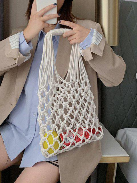 fancy Crochet Fishnet Hollow-Out Tote Bag - WHITE  Mobile