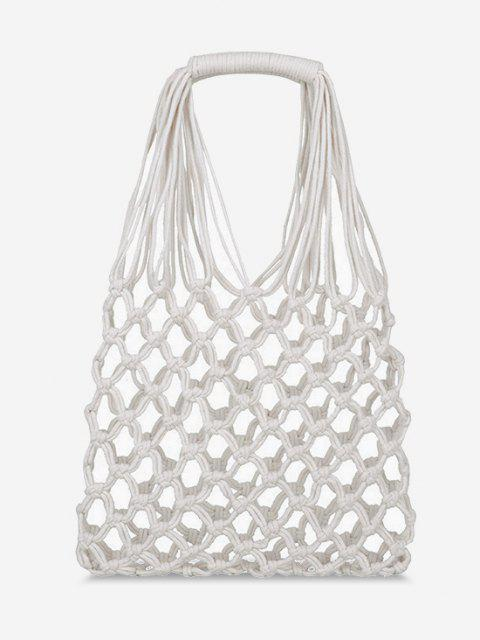 Crochet Fishnet Hollow-Out Tote Bag - أبيض  Mobile