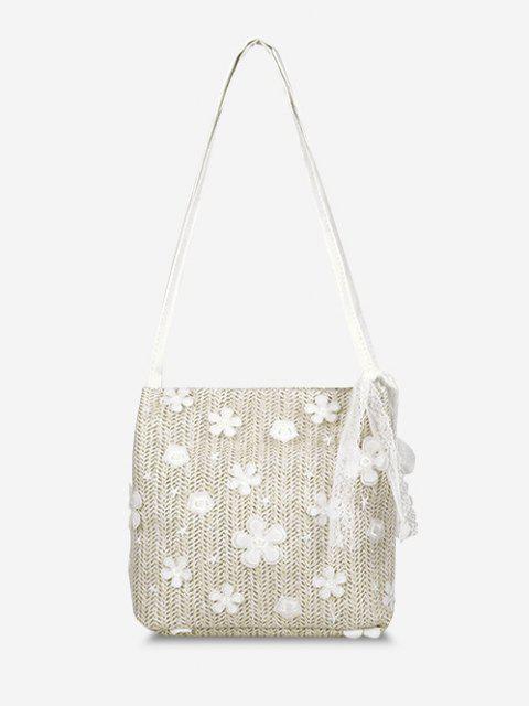 womens Applique Lace Hemp Woven Shoulder Bag - WARM WHITE  Mobile