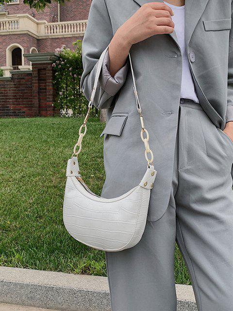 new Embossed Half Chain Shoulder Bag - WARM WHITE  Mobile