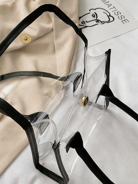 outfits Transparent Binding Square Flap Tote Bag - BLACK  Mobile