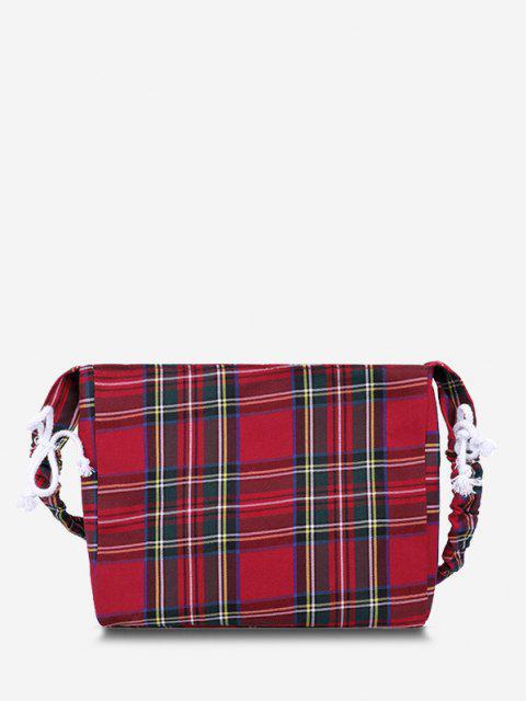 women Plaid Drawstring Strap Shoulder Bag - RED  Mobile