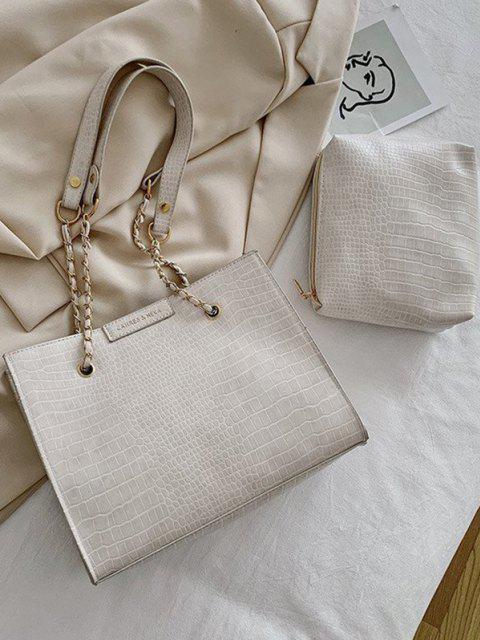 Ensemble de Sac à Bandoulière Texturé Carré 2 Pièces - Blanc  Mobile