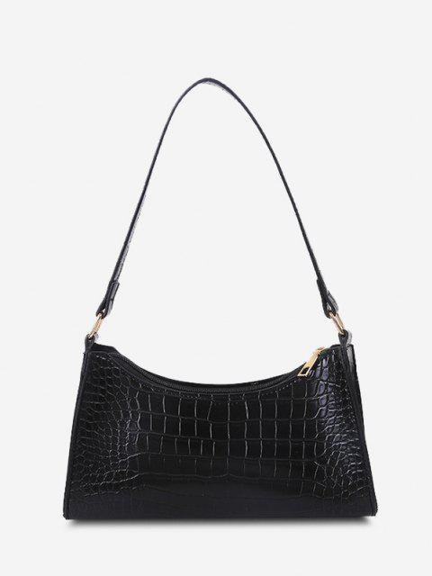 lady PU Stone Print Solid Shoulder Bag - BLACK  Mobile