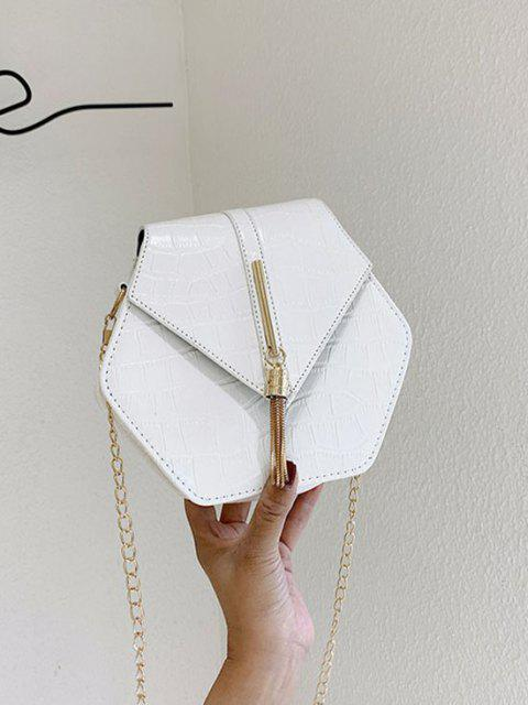 fashion Tassel Hexagon Chain Crossbody Bag - MILK WHITE  Mobile