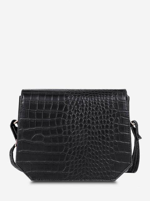 womens Irregular Textured Crossbody Bag - BLACK  Mobile