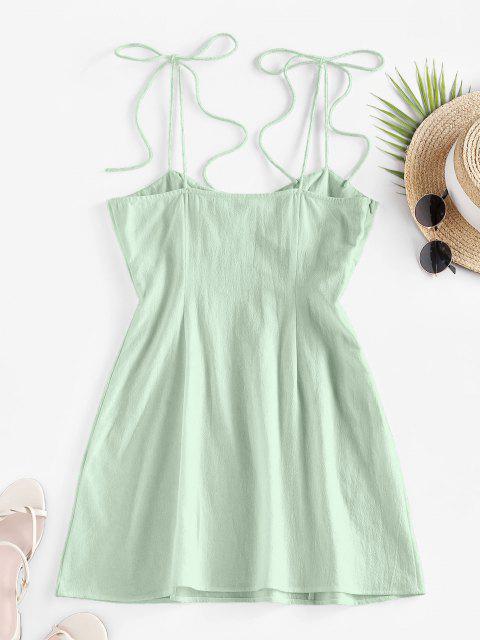fashion ZAFUL Tie Shoulder Bowknot Slit Mini Dress - LIGHT GREEN XL Mobile