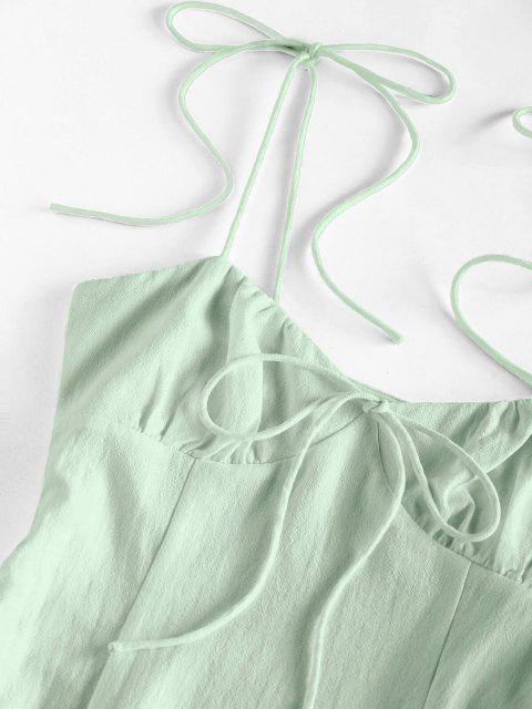 ZAFUL Gebundenes Schulter Bowknot Schlitz Minikleid - Hellgrün S Mobile