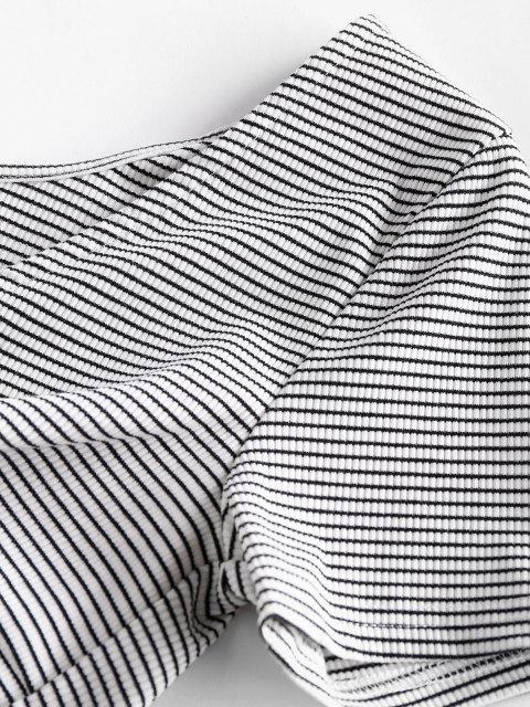 Gestreiftes Vorder Geschnittenes T-Shirt - Weiß M Mobile