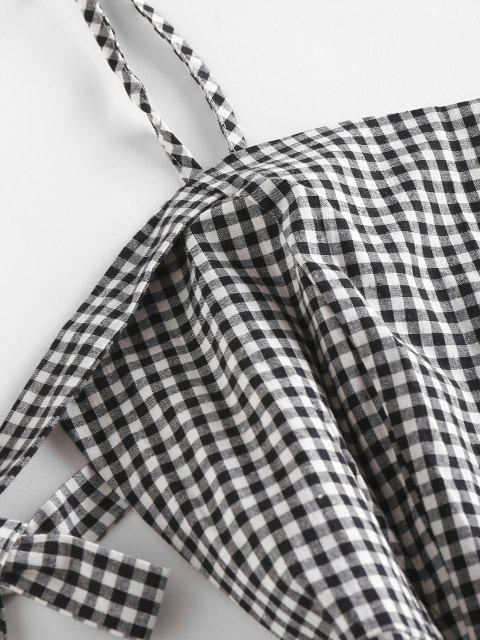 unique Tie Sleeve Cold Shoulder Gingham Romper - BLACK WHITE L Mobile