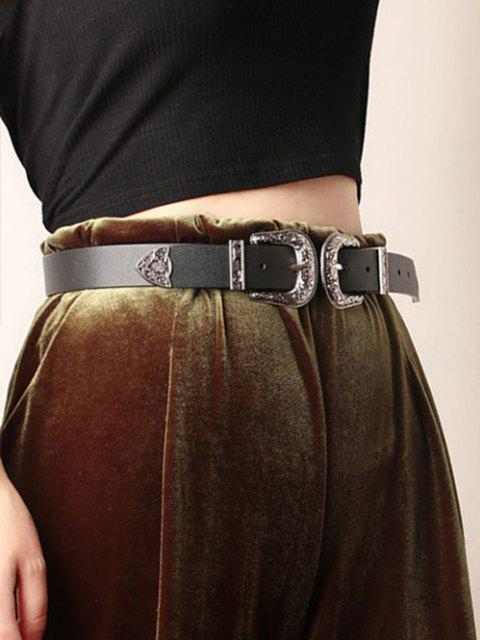 new PU Double Head Сarving Buckle Belt - BLACK  Mobile