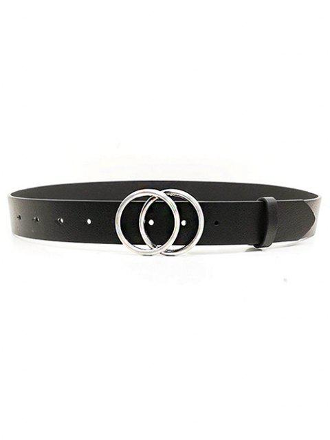 hot PU Double Round Buckle Solid Belt - BLACK  Mobile