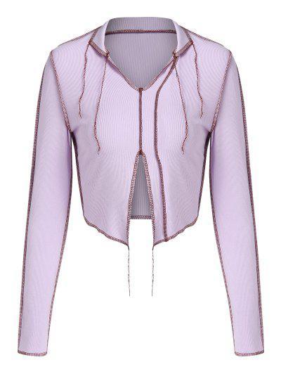 ZAFUL Ribbed Topstitching Slit V Neck Crop T Shirt - Light Purple S