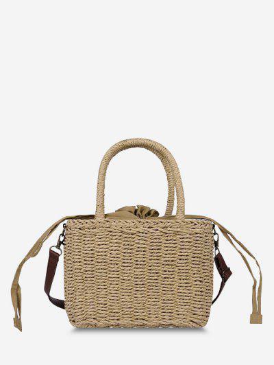 Hemp Woven Drawstring Basket Picnic Bag - Light Brown