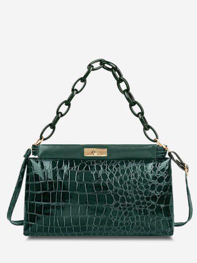 Embossed Twist-Lock Dual Handle Shoulder Bag - Sea Green