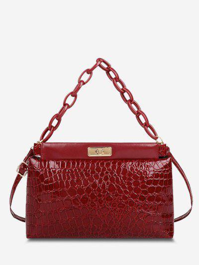Embossed Twist-Lock Dual Handle Shoulder Bag - Red Wine