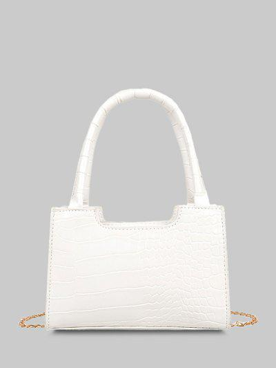 Solid Embossed Chain Double Handle Tote Bag - White