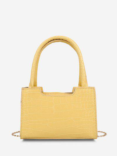 Solid Embossed Chain Double Handle Tote Bag - Sun Yellow
