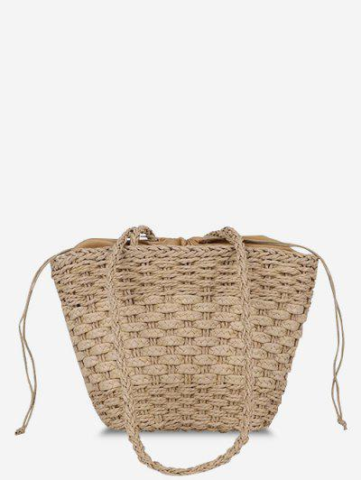 Casual Woven Drawstring Picnic Basket Bag - Deep Brown