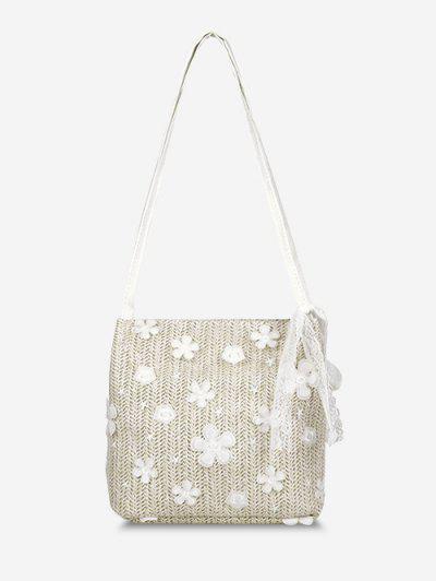 Applique Lace Hemp Woven Shoulder Bag - Warm White