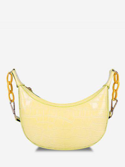 Embossed Half Chain Shoulder Bag - Sun Yellow